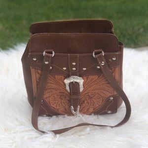 American West Vintage Leather Bag w/ flowers